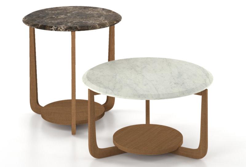 Tavolini rotondi con struttura in legno, piano in marmo Emperador e in marmo Bianco Carrara - Allen