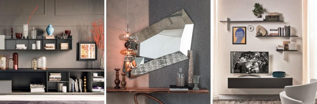 Idee per le pareti del soggiorno: composizione completa, specchio, mensole