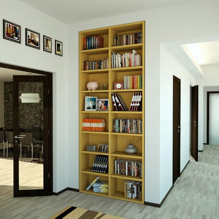 Piccola nicchia trasformata in scaffale incassato - Libreria Almond