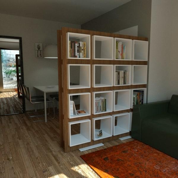 Dividere monolocale con libreria: progetto