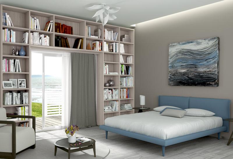 Libreria a ponte su misura, in camera da letto, sopra una portafinestra