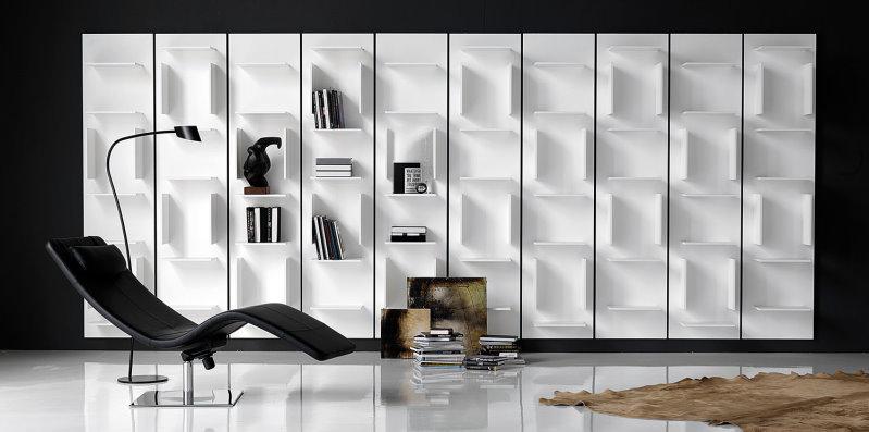 Libreria componibile a muro in legno laccato - Libreria Fifty