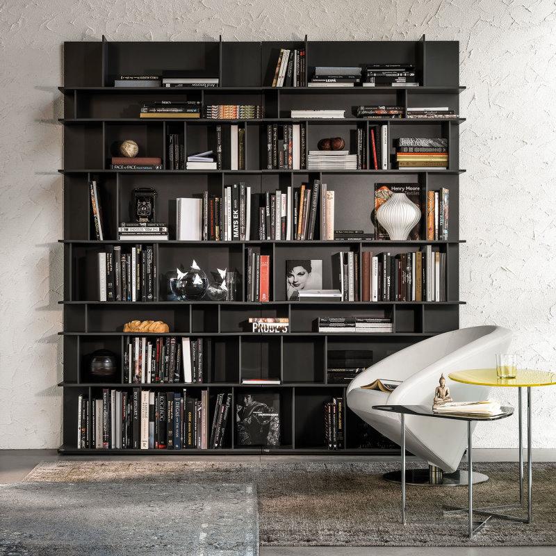 Libreria a parete laccata nera - Libreria Wally