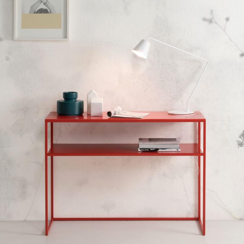 Consolle minimal rossa in metallo - Chelsea
