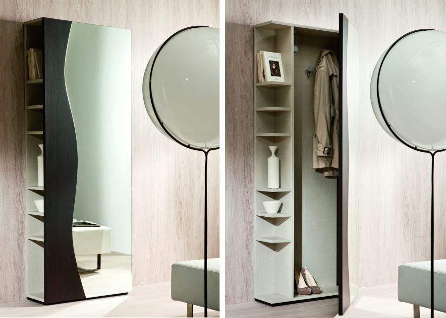 Appendiabiti per ingresso stretto con porta a specchio e ripiani laterali - Futura