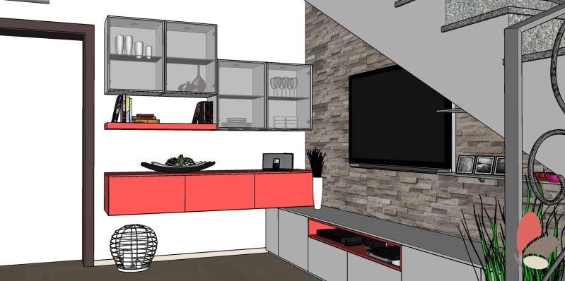 Progetto di soggiorno sotto scala con contenitori per ingresso e porta tv