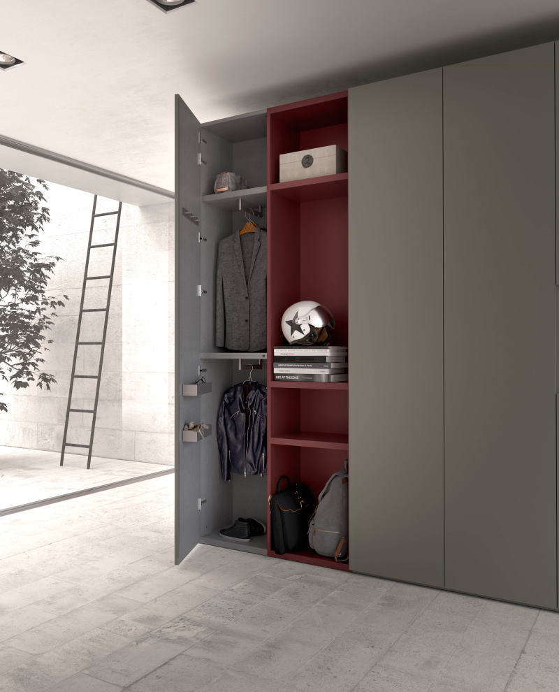 Dettaglio: armadio da ingresso con cappottiera e piani di appoggio aperti - Focus Wide