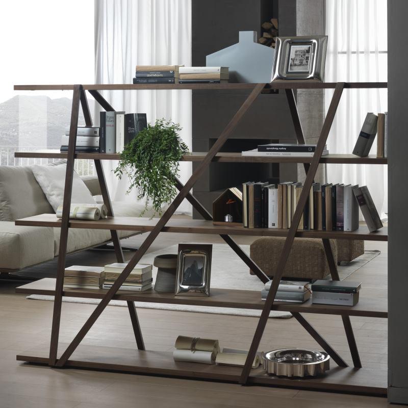 Libreria divisoria altezza 150 cm legno noce - Tres