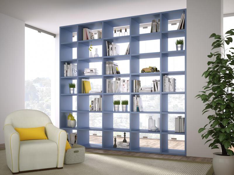 Libreria divisoria azzurra alta a soffitto - Almond
