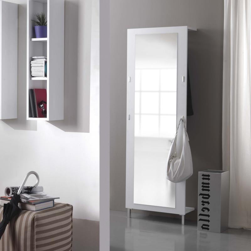 Specchio alto con gancetti per borse e appendiabiti nascosto dietro - Toledo
