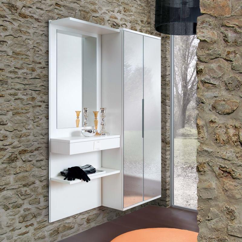 Set ingresso con armadietto due ante a specchio, mensola, cassetto - Cambridge F09