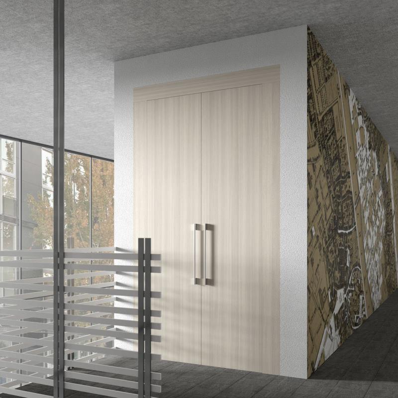 Corridoio con nicchia nel muro chiusa da porte su misura - Tilt Lineare