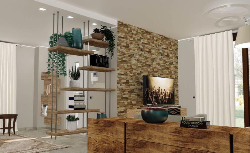 Progetto di Easy Relooking di ingresso aperto su soggiorno diviso da libreria bifacciale