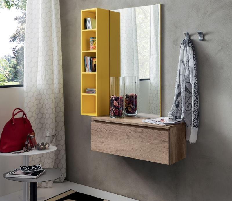 Composizione di contenitore, mensole e specchio per ingresso piccolo - Dobby