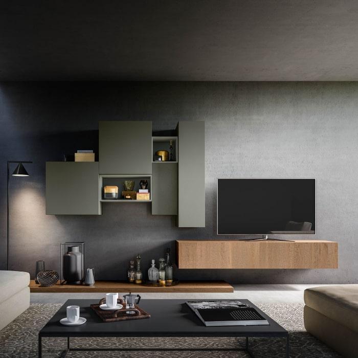 Composizione per soggiorno con mobile TV sospeso Plan 26