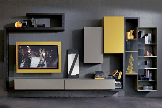 Composizione per TV gialla e grigia Side 05