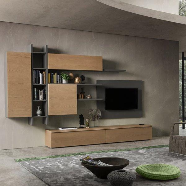 Idee 10 pareti attrezzate per arredare un soggiorno for Arredare parete soggiorno