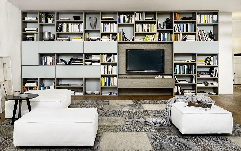 Parete attrezzata con tanti ripiani libreria - Parete Way 04