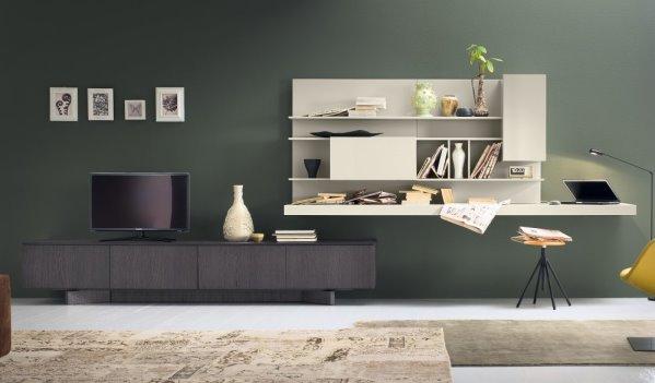 Idee 10 pareti attrezzate per arredare un soggiorno for Pareti tv moderne