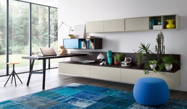 Idee 10 pareti attrezzate per arredare un soggiorno for Scrivania soggiorno