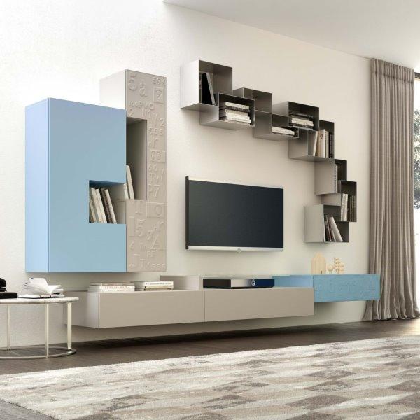 Idee 10 pareti attrezzate per arredare un soggiorno for Colori pareti soggiorno moderno
