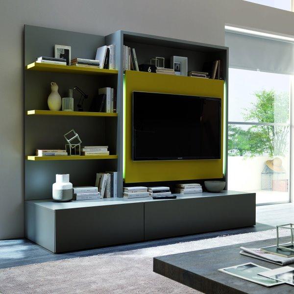 Tavolino Alzabile Uso Scrittoio Radius Ozzio Italia : Idee pareti attrezzate per arredare un soggiorno