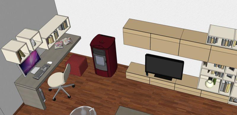 Progetto per soggiorno con scrivania a penisola per pc