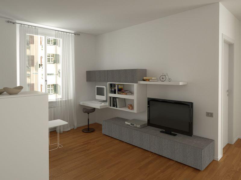 Progetto di piccolo soggiorno con mensola porta pc integrata in parete attrezzata