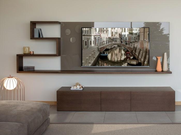 Pannello porta TV in vetro Show