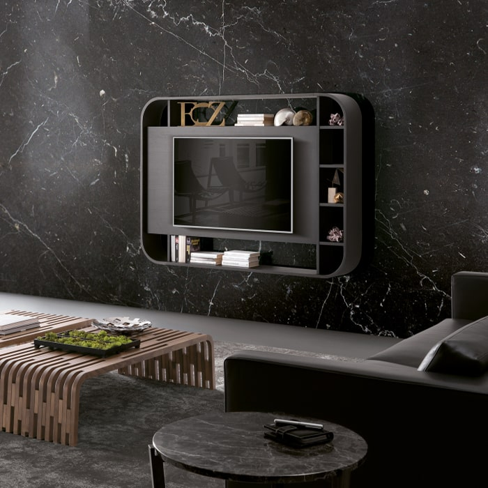 Porta TV sospeso con libreria integrata Vision
