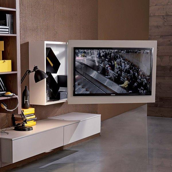 Porta tv a muro girevole ed orientabile - modello RACK