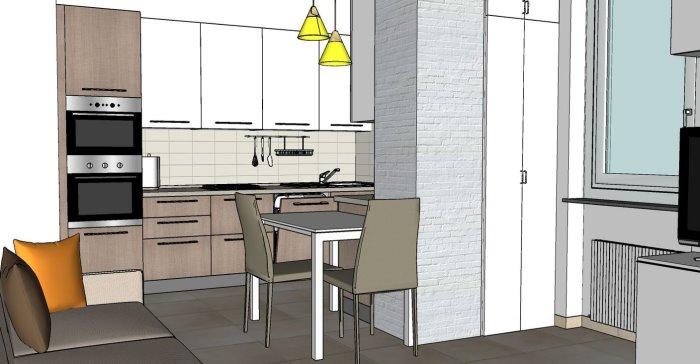 Progetto di un monolocale con angolo studio in nicchia
