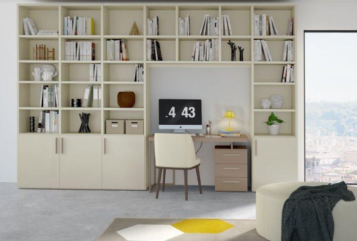 Libreria componibile su misura Almond a ponte con scrivania