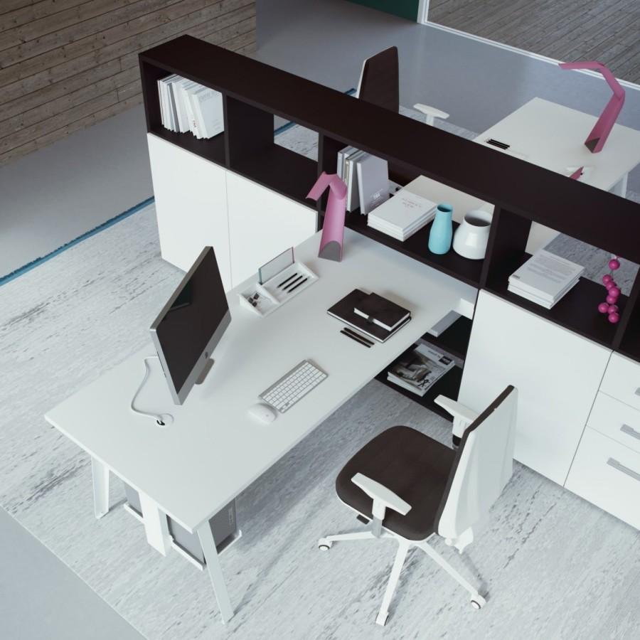 Idee il progetto di chiara libreria a ferro di cavallo - Mobile con scrivania ...