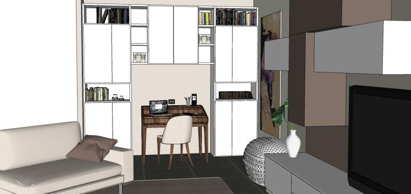 Progetto per angolo studio e lavoro con scrittoio sotto libreria a ponte