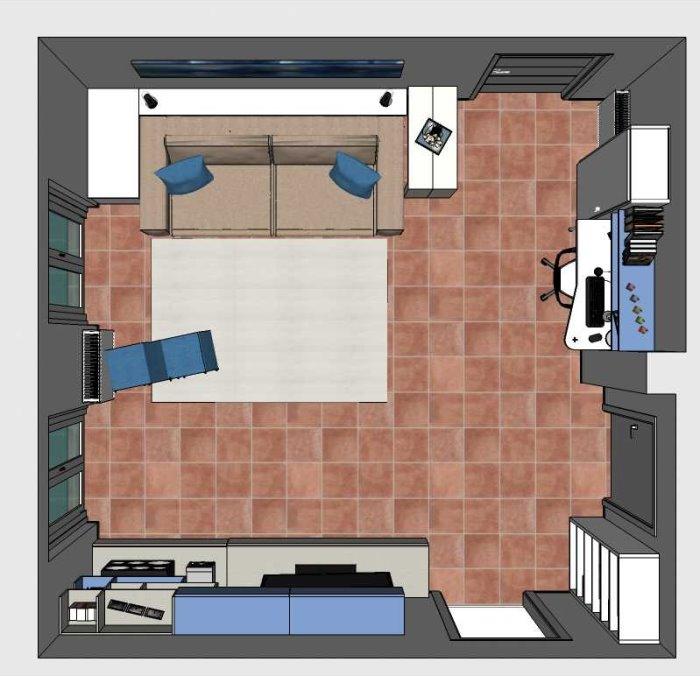 Progetto per soggiorno con piccolo home office