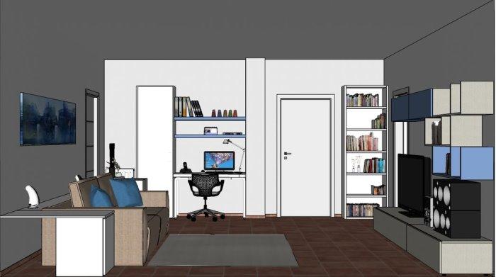 Vista frontale del salotto con angolo per lavorare al pc