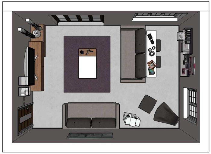 Progetto per salotto con piccolo angolo studio dietro al divano