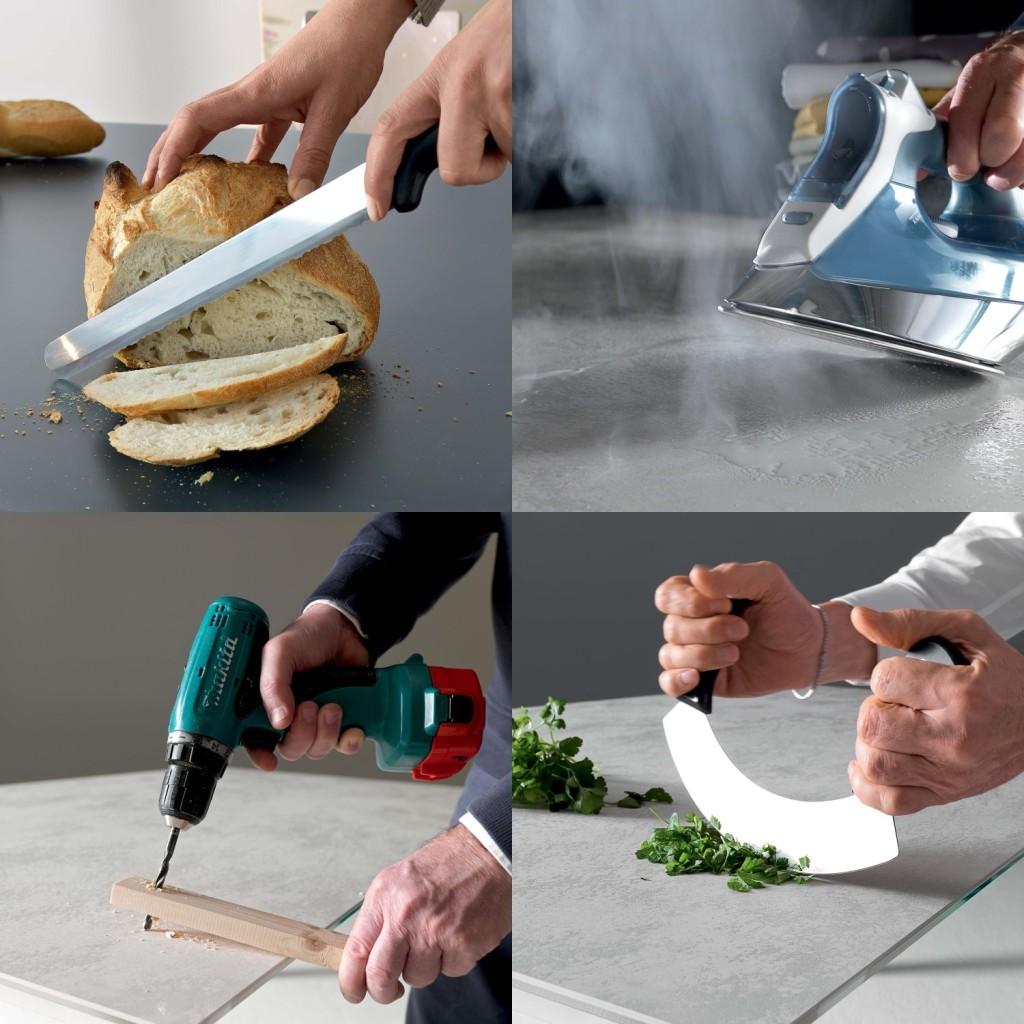 Piano del tavolo ultra-resistente con i nuovi materiali in commercio: vetro antigraffio e  super-ceramica