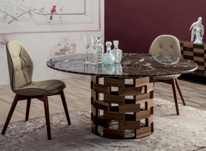 Tavolo rotondo con piano in marmo Emperador e base rotonda realizzata in mattoncini di legno massello - Colosseo