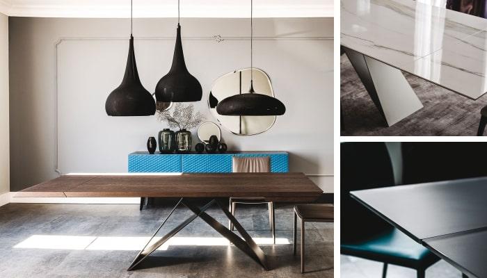 Tavolo allungabile in legno e metallo Premier