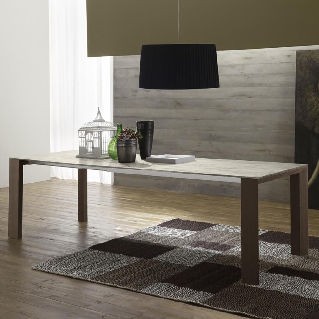 Directory è un tavolo in vetroceramica con gambe in legno